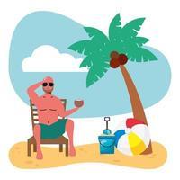 Mann im Badeanzug sitzt im Strandkorb und isst Kokosnuss vektor