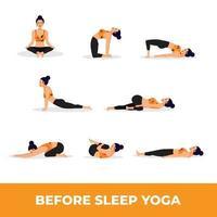 Set von Yoga-Asanas vor dem Schlafengehen vektor