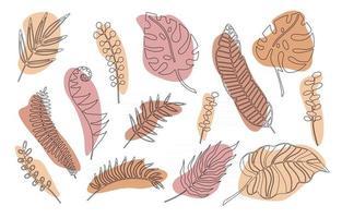 handritade grenar uppsättning tropiska växter lämnar med färgform isolerad på vit bakgrund. disposition doodle vektorillustration. design för mönster, logotyp, affischer, inbjudan, gratulationskort vektor