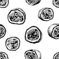 Vektor schwarz-weiß nahtlose Hintergrund mit Passionsfrucht. kann für Tapeten, Musterfüllungen, Webseiten, Oberflächenstrukturen, Textildruck, Geschenkpapier verwendet werden.