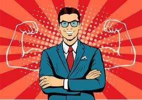 Mann mit Muskeln Währungsdollar-Pop-Art-Retrostil. Starker Geschäftsmann in Gläsern im Comic-Stil. Erfolgskonzept-Vektorillustration.