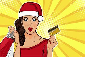 Verkaufskarte oder Grußkarte für das neue Jahr 2019. WOW sexy junges Mädchen mit Taschen und Kreditkarte. Vektorillustration in der Retro- komischen Art der Pop-Art