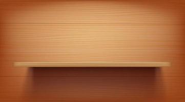 langes Holzregal an einer Holzwand vektor