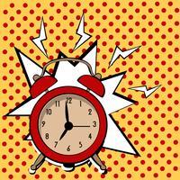 Väckarklocka tecknad film popkonst retro stil vektor illustration