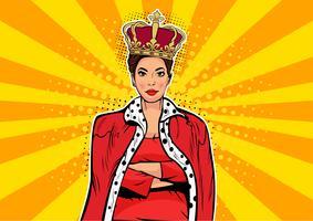 Business drottning. Affärskvinna med krona. Kvinna ledare, framgång chef, mänskligt ego. Vektor retro popkonst komisk drown illustration.
