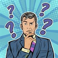 Skeptisches Gesichtsausdruckgesicht des Geschäftsmannes mit Fragezeichen auf seinem Kopf. Retro Artillustration der Pop-Art in der komischen Art