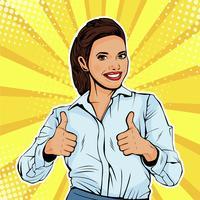 Wie erfolgreiche weibliche Geschäftsfrau, die sich Daumen zeigt. Wie eine Geste. Vektorillustration in der Retro- komischen Art der Pop-Art