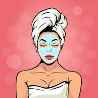 Sexig ung kvinna i badhandduk med kosmetisk mask på hennes ansikte. Färgrik vektor bakgrund i popkonst retro komisk stil. Leende och avkopplande kvinnligt ansikte.