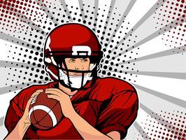 Amerikansk fotbollsutövare. Sportspel. Det amerikanska fotbollsmästerskapet. Fotbollsboll Liga. Vektor illustration i popkonst retro komisk stil.