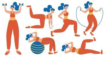 Workout Girl Set Ausfallschritte und Kniebeugen Plank und ABC Ganzkörpertraining modernes flaches Designkonzept des Webseitendesigns für Website- und mobile Website-Vektorillustrationen jede Figur ist isoliert vektor