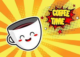 Popkonstbakgrund med söt kaffekopp och talbubbla med kaffetidstekst. Vektor färgglad handgjord illustration i retro komisk stil.