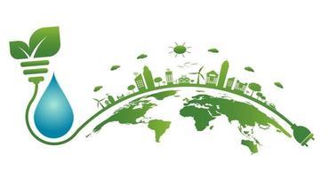 Erdsymbol mit grünen Blättern um Ökologie grüne Städte helfen der Welt mit umweltfreundlichen Konzeptideen vektor