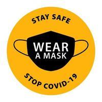 Bitte tragen Sie Maske Symbol Vektor Beschilderung