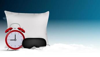 Gute Nacht abstrakter Hintergrund mit lustiger Schlafmaske und Wecker und Kissen gegen den blauen Himmel vektor
