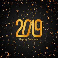 Gott nytt år 2019 gyllene konfetti bakgrund vektor