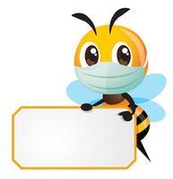 Cartoon süße Biene mit schützender Gesichtsmaske, die auf gelben Rand mit Schild zeigt vektor