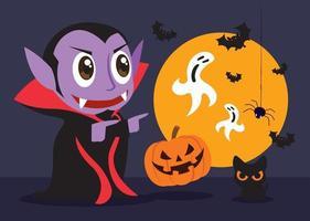kleiner süßer Dracula-Vampir feiert Halloween-Party mit Katzen- und Kürbisfreunden vektor