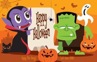 kleiner süßer Dracula-Vampir und Frankenstein-Monster-Charakter mit Kalligraphie auf Retro-Papier im Halloween-Thema vektor