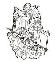 Umrissgruppe von Wanderern, die den Berg besteigen vektor