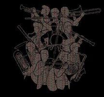 abstrakte Gruppe von Musikern Orchesterinstrument vektor