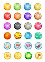 Satz Blasen und magische Kugeln für Spiel Ui vektor
