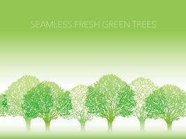 Sömlös rad med färska gröna träd med textutrymme.