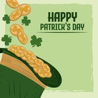 Happy Patricks Day Grußkarte Koboldhut mit Münzen und Klee vektor