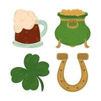 Happy St Patricks Day Kessel mit Münzen Hufeisenklee und Bier Symbol flacher Vektor