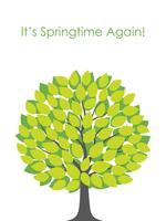 Frühjahrbaum-Vektorillustration mit Textplatz.