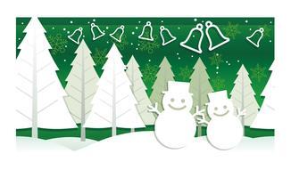 Weihnachtsillustration mit Winterwald, Schneemännern und Glocken.