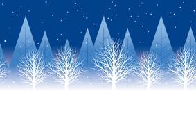 Nahtloser Winterwaldhintergrund nachts mit Textplatz, Vektorillustration.