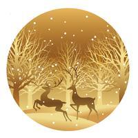 Weihnachtsrunde Abbildung mit Wald und Ren.