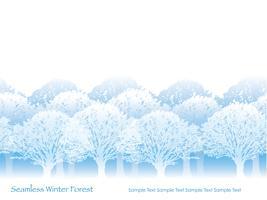 Sömlös skog i vinterfärger med textutrymme. vektor