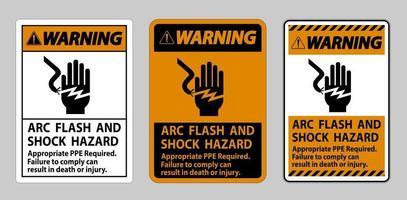 Warnschild Lichtbogenblitz und Stromschlaggefahr entsprechend ppe erforderlich vektor
