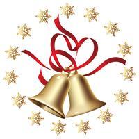 Goldene Weihnachtsglocken mit einem Kreisschneeflockenrahmen. vektor