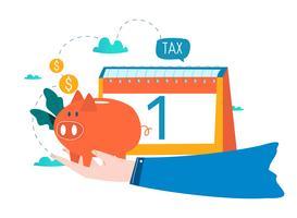 Finansiell kalender, ekonomisk planering, månatlig budgetplanering platt vektor illustration design