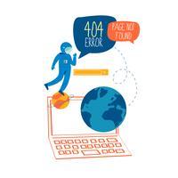 Fel sida 404, fil ej hittad koncept platt vektor illustration design