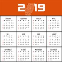 Modernt nytt år 2019 kalenderdesign mall