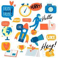 Sammlung flache Aufkleber des Sozialnetzes
