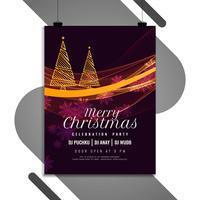 Glatt julfestival firande flygblad mall vektor