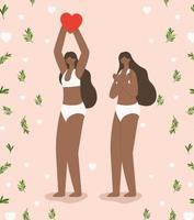 schwarze Frauen paaren sich mit Blumen vektor
