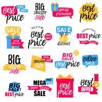Bunte Verkauf Aufkleber Sammlung vektor
