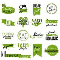 Klistermärken och märken för ekologisk mat och dryck