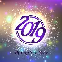 Gott nytt år 2019 färgstark dekorativ bakgrund vektor