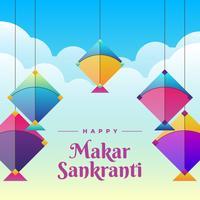 Bunter Drachen, zum des Makar Sankranti Grußkarten-Hintergrundes zu feiern