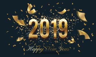 Feierliches Hintergrunddesign 2019 des guten Rutsch ins Neue Jahr mit fallendem R