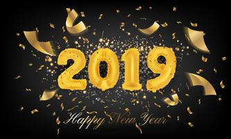 2019 guten Rutsch ins Neue Jahr-Grußkarten-Hintergrund. Ballon-Vecto von 2019 vektor