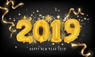2019 Gott nytt år hälsningskort bakgrund. 2019 Balloon Vecto vektor
