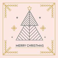 Minimalistic Frohe Weihnachten Kartenvektor