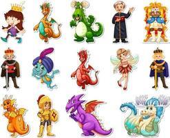 Aufkleberset mit verschiedenen märchenhaften Zeichentrickfiguren vektor